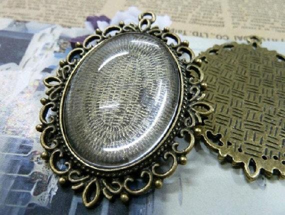 10 pcs 30X40mm Antique Bronze  Cameo Cabochon Base Setting Tray Blanks Pendants Necklace Charm Pendant