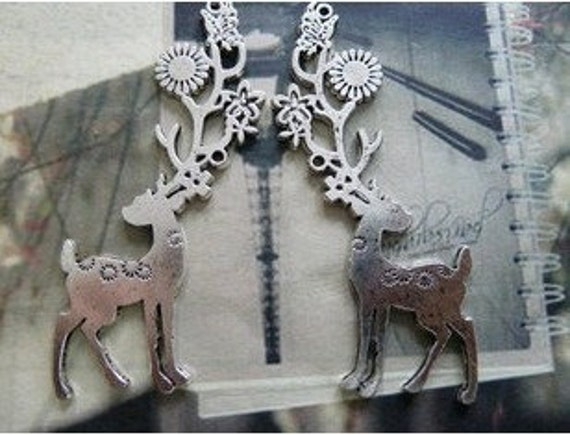 5pcs 36x74mm The Deer  Silver  White Charm For Jewelry Pendant B353