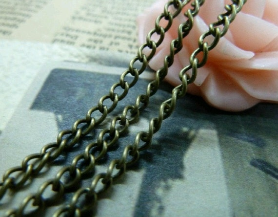 32 Feet  3x4mm Vintage Bronze Plated Brass Twisted Cross Chains E1052