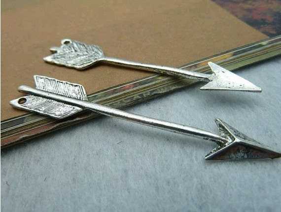 20pcs 11x63mm The Arrow  Silver color Retro Pendant Charm For Jewelry /Pendant B430