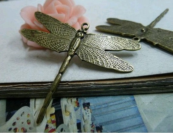 10pcs 40x46mm The Dragonfly  Antique Bronze Retro Pendant Charm For Jewelry Pendant C2104