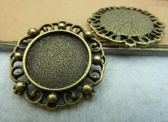 10 pcs 18mm Antique Bronze  Cameo Cabochon Base Setting Tray Blanks Pendants Charm Pendant C2635