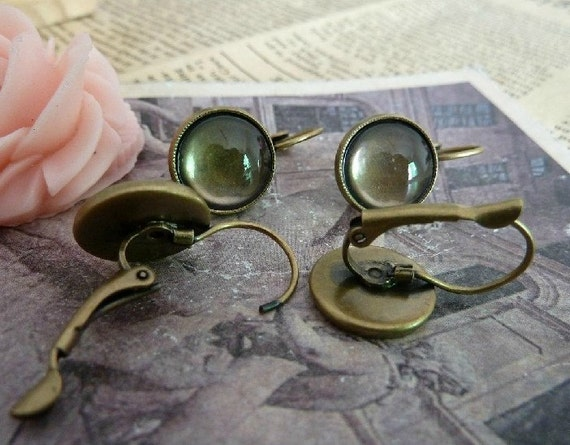 10pcs 12mm The Ear Clip Antique Bronze Charm For Earring Pendant E12