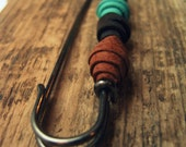 RESERVED for LoriLavallee : Giant kilt-pin with handmade leather bells in mocha-turquoise-cream colourway
