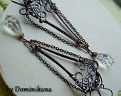 CRISTALLO, long earrings, Swarovski crystal, sterling silver hooks