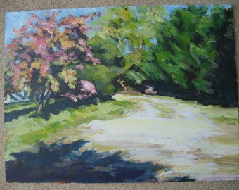 """Country Road Painting - 12 x 16 Original Acrylic on Canvas Panel, """"Down The Road Apiece"""""""