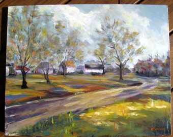 "Rural Landscape Painting- 16 x 20 Original Acrylic Painting on Canvas ""One Fine Day"""