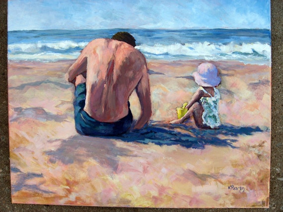 "Beach Painting- 16 x 20 Original Acrylic on Canvas, ""Digging the Beach II"""