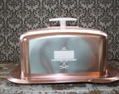 Cake Carrier Vintage Metallic Pink Square Cake Carrier Cake Plate Retro Cake Taker
