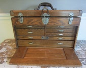 Antique Machinist Chest WWII Tackle Box Jewelry Box Union Machinist Chest