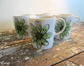 Mod Floral Coffee Cup Lime Green Dishes Mug Green Flower Cup Retro Mug Flower Power Retro Kitchen