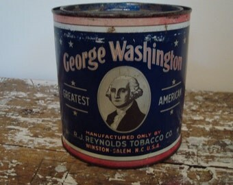 Vintage Americana  Advertising Tin 1940s Cut Plug Tobacco Tin George Washington