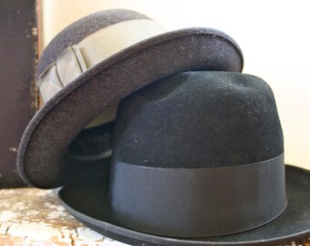 Vintage Mens Hat Resistol Self Conforming Hats set of 2 in Box Black Hat Grey Hat
