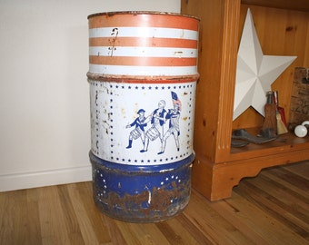 Vintage Oil Drum Washington Tin Americana Tin Advertising Tin Table Base Large  Americana Tin Yard Decor Storage