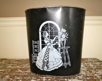 Metal Garbage Can Waste Paper Basket Art Deco Black Metal Bsket Tin Basket