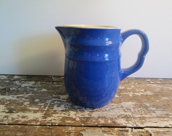 Vintage Pitcher Stoneware Blue Pitcher Mid Century Blue Stoneware Milk Pitcher Flower Vase Blue Vase Pottery Vase