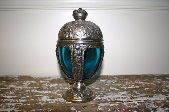 RESERVED...Vintage Candy Dish Antique Musical Chalice Urn Ornate Silverplate Cobalt