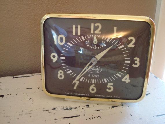 Vintage Clock  Sentry 8 Day Clock by E. Ingraham Co