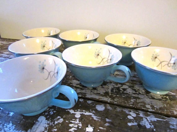Vintage Teacup Turquoise Blue Taylor Smith and Taylor Blue Lace Tea Cup  Aqua Blue Teal Floral Tea Cups set of 7