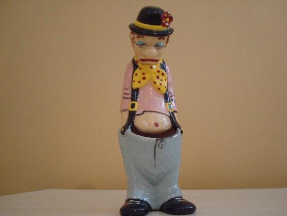 Sad Clown Planter Ashtray Vintage Hobo Cactus Planter Figurine