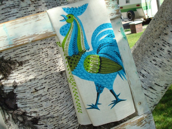 Vintage Kitchen Towel Thanksgiving Decor Rooster Kitchen Linen Towel Vintage Never Used Linen Dish Towel