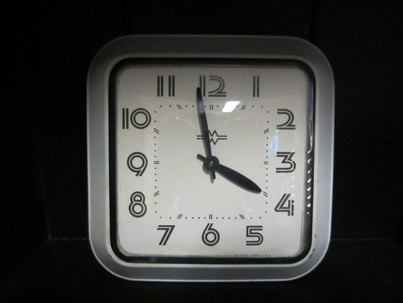 Vintage Clock Black and White E Ingraham and Co. Wind Up Wall Clock