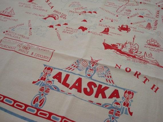 Vintage Alaska Tablecloth Map Tablecloth