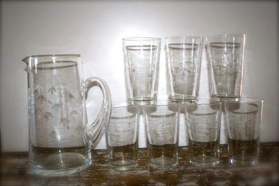 Vintage Pitcher and Glasses Etched Glass Juice Pitcher with 7 glasses