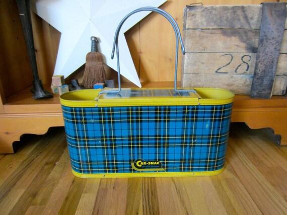 Metal Basket Car-Snac Basket Thermos Vintage Car Basket