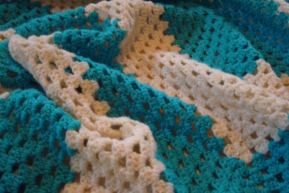 Afghan Blanket Vintage Crocheted Throw Blanket Turquoise Bedding