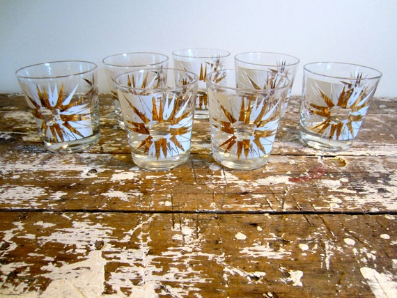 Atomic Glasses Bar Glasses Gay Fad Glasses Starburst Gold Glassware