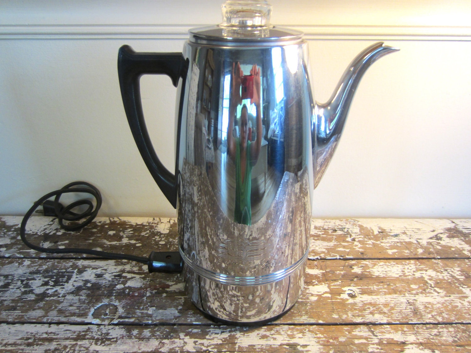 Old Coffee Makers ~ Chrome percolator coffee maker vintage coffematic urn
