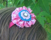 Pink and Turquoise Fabric Flower Headband