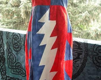 Grateful Dead hippie patchwork lightning bolt dress