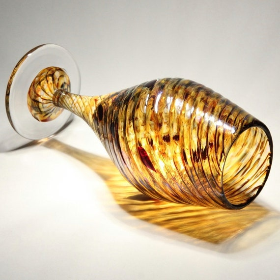 Unique Hand Blown Wine Glass - Twisted Amber and Ruby