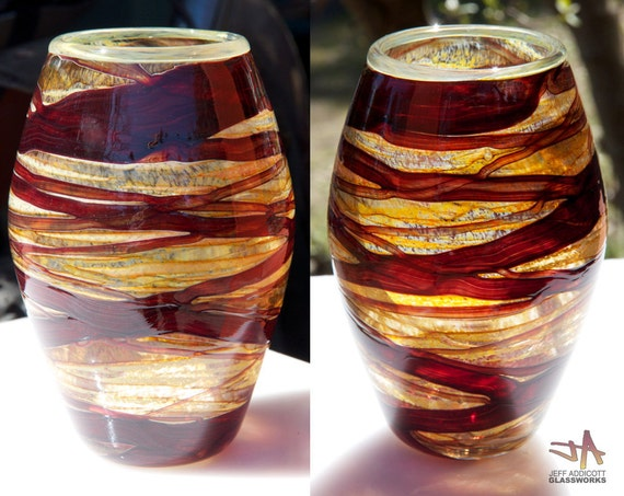 Hand-Blown Glass Earthy Brown and Ruby Basket Vase