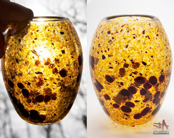 SALE Amber Hand Blown Glass Basket Vase with Ruby Dots