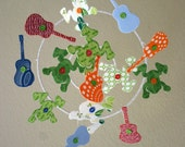 Baby Crib Mobile - Frog and Guitar Mobile - Red, Blue, Green, Orange Baby Mobile