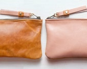 PEACHES and Caramel Leather Wallet. Small leather Pouch. Leather Wallet