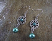 Teal Glass Pearl Dangle Pierced Earrings with Antique Silver Finish