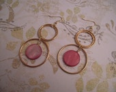 Pink Coral Colored Shell and Large Gold Hoop Dangle Earrings