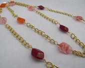 Red Orange and White / Orange Swirl Glass Beaded Gold Necklace - Long