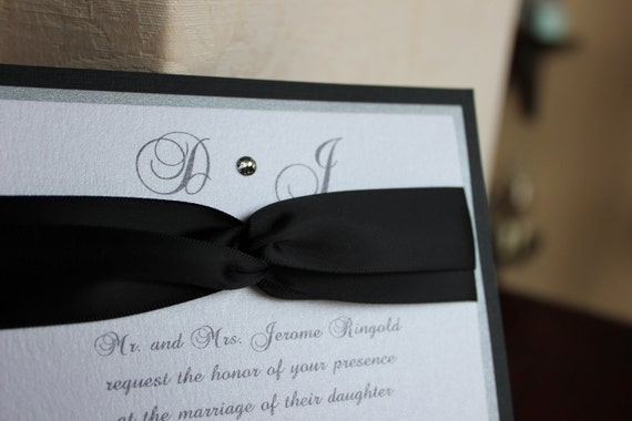 Black, Silver and White Wedding Invitation with Ribbon and Crystal Set
