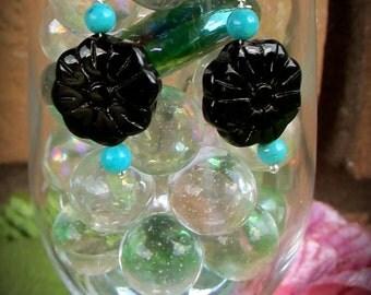 Carved Onyx Flower Earrings