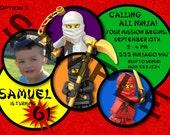 Ninjago Birthday Invitations 3 Options - Digital File