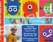Monster Birthday Party Invitation 5 Options Available - Digital File