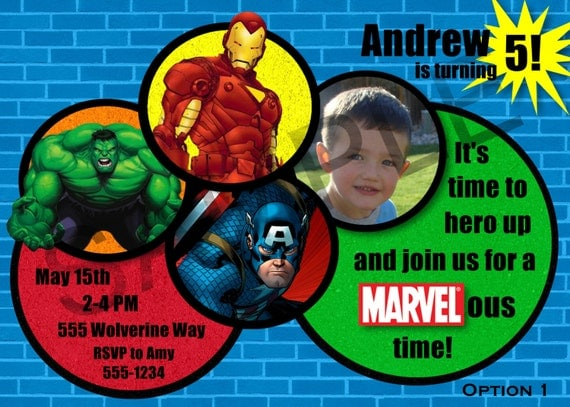Marvel Avengers Birthday Party Invitation - Digital File