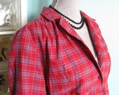 Vintage 80s does 50s Button Up Top ./ Vintage Plaid . Bright . Hepburn . Rockabilly /.