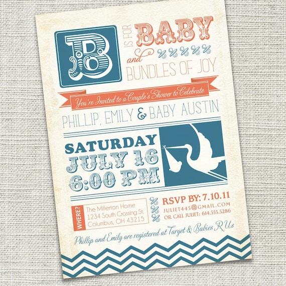 Vintage Retro Baby Shower Invitation (PRINTABLE)