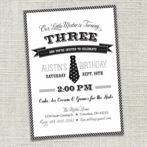 Boys 1st, 2nd, 3rd Birthday Party Invitation - Little Man (PRINTABLE)